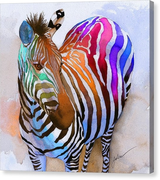 Colorful Zebra Canvas Prints | Fine Art America With Zebra Canvas Wall Art (View 22 of 25)