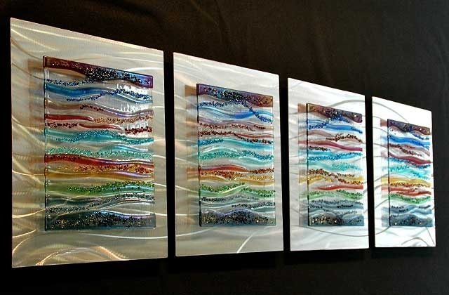 Contemporary Glass Wall Art, Fused Glass & Metal Wall Art,kim With Regard To Glass Wall Art (Image 1 of 10)