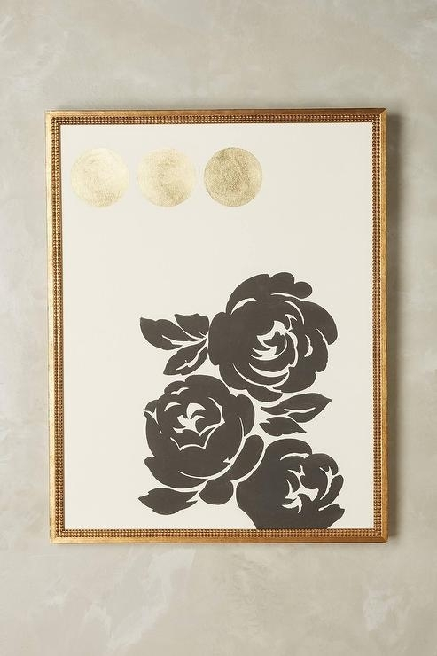 Contemporary Gold Foil Floral Wall Art Regarding Gold Foil Wall Art (Image 2 of 25)