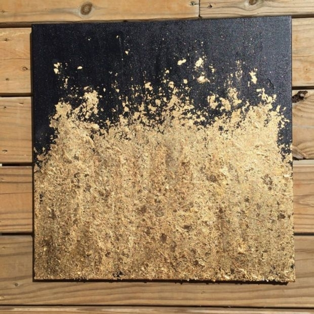 Contemporary Gold Leaf Painting – Original Abstract Modern Intended For Black And Gold Wall Art (Image 17 of 25)