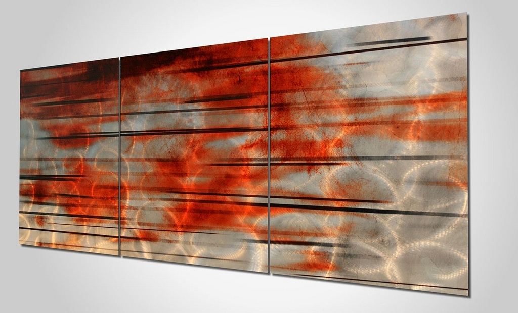 Contemporary Silver Orange Wall Art | 'interlude' Modern Wal… | Flickr Pertaining To Orange Wall Art (Image 6 of 25)