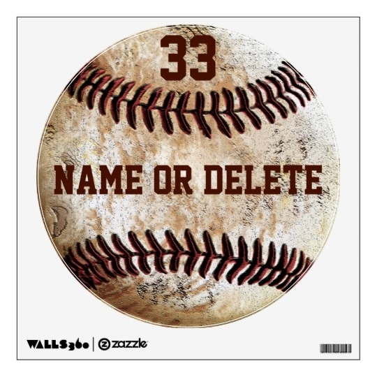 Cool Vintage Baseball Wall Art Name, Jersey Number Wall Decal For Baseball Wall Art (Image 16 of 25)