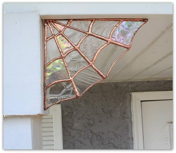 Copper Stained Glass Spider Web Stained Glass Wall Decor | Stained Throughout Stained Glass Wall Art (View 16 of 25)