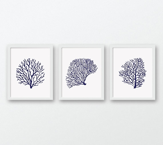 Coral Prints, Navy Blue Wall Art, Print | Design Bundles Inside Coral Wall Art (View 22 of 25)