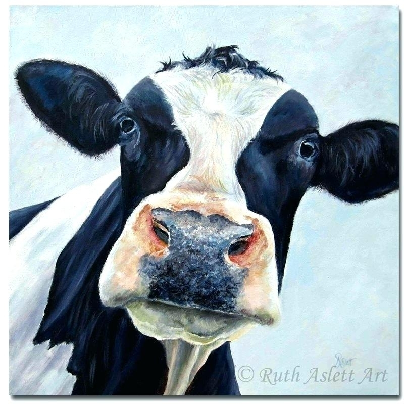 Cow Canvas Wall Art Canvas Wall Plaque Cow Wall Art Print Country Intended For Cow Canvas Wall Art (View 24 of 25)