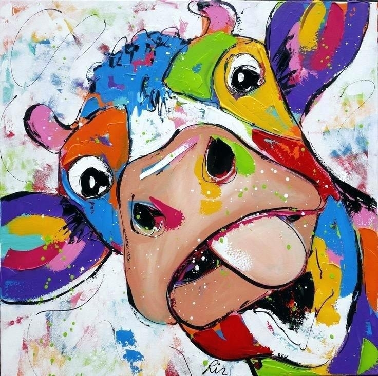 Cow Canvas Wall Art Funky Met Painting Of A With Great Color – House Throughout Cow Canvas Wall Art (View 20 of 25)