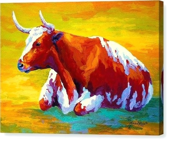 Cow Pictures On Canvas Cow Canvas Print Longhorn Cowrose With Regard To Cow Canvas Wall Art (View 16 of 25)