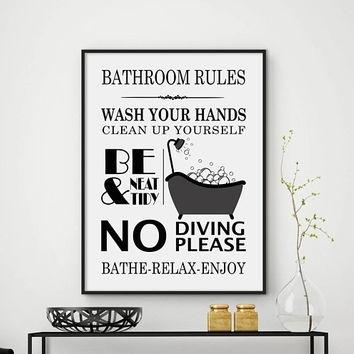 Cozy Ideas Bathroom Rules Wall Art Home Decor Kids Printables Brush Regarding Bathroom Rules Wall Art (Image 17 of 25)