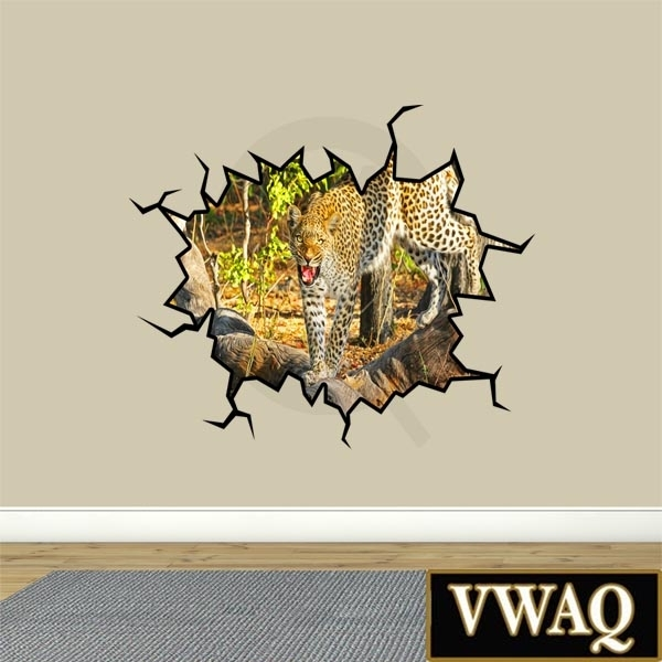 Crack Safari Scene Leopard Hole In The Wall Art Peel And Stick Mural Inside Stick On Wall Art (View 11 of 20)