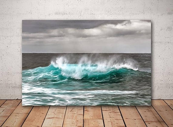 Crashing Waves Landscape Canvas, Large Art Painting, Nature Poster For Ocean Wall Art (Image 9 of 25)