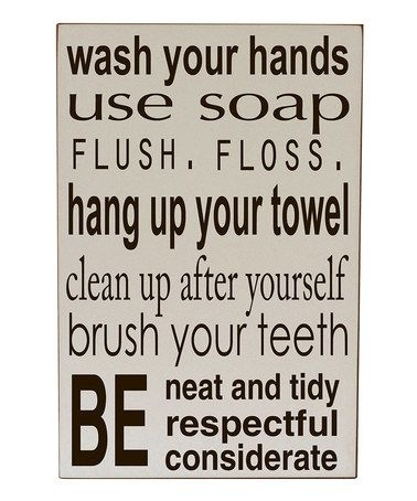 Cream Bathroom Rules Wall Artvinyl Crafts On #zulily | Quotes To With Bathroom Rules Wall Art (View 13 of 25)