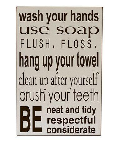 Cream Bathroom Rules Wall Artvinyl Crafts On #zulily   Quotes To With Bathroom Rules Wall Art (Image 18 of 25)