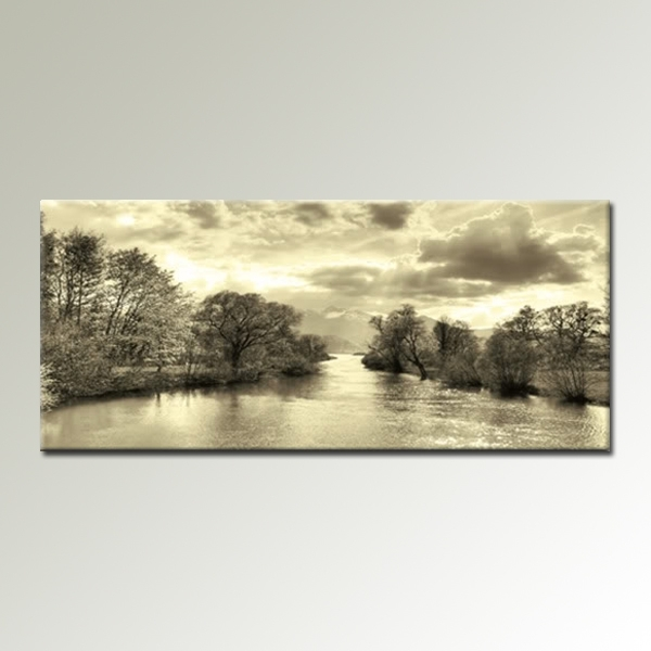 Cream Black And White Landscape 44X20 Inch Panoramic Canvas Wall Art In Panoramic Wall Art (Image 4 of 10)