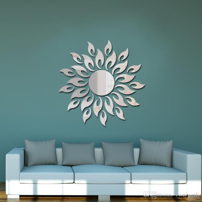 Creative 3D Acrylic Mirror Surface Wall Sticker Diy Sun Flame Fire With Acrylic Wall Art (Image 14 of 25)