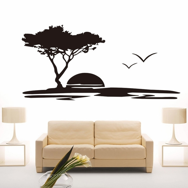 Creative Diy Wall Art Big Tree And Seagulls Nature Wall Stickers Intended For Nature Wall Art (Image 9 of 25)