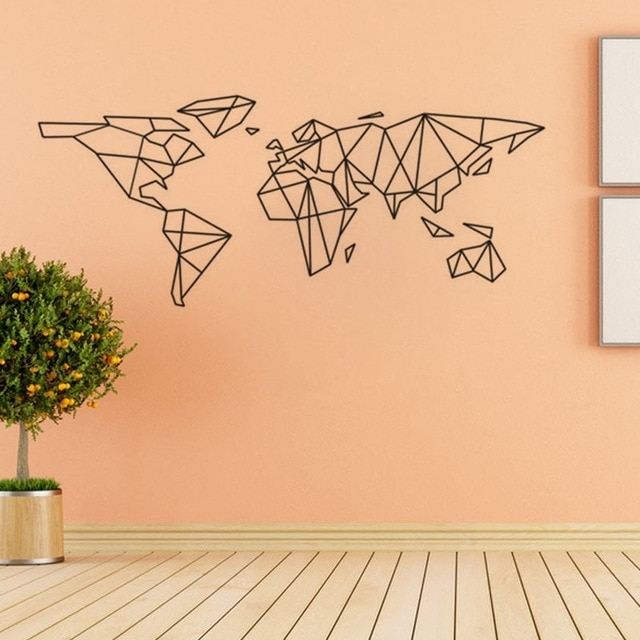 Creative Geometric World Map Vinyl Wall Decal Home Decor Living Room Intended For Vinyl Wall Art World Map (Image 8 of 25)