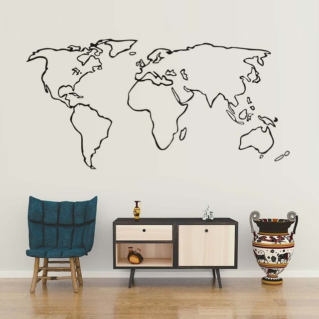 Creative World Map Wall Sticker Modern Minimalism Vinyl Wall Art In Vinyl Wall Art World Map (Image 9 of 25)
