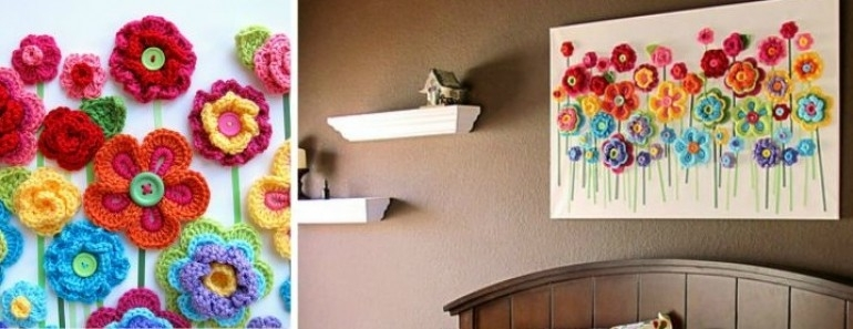 Crochet Button Flowers Wall Art | Beesdiy In Crochet Wall Art (Image 4 of 20)