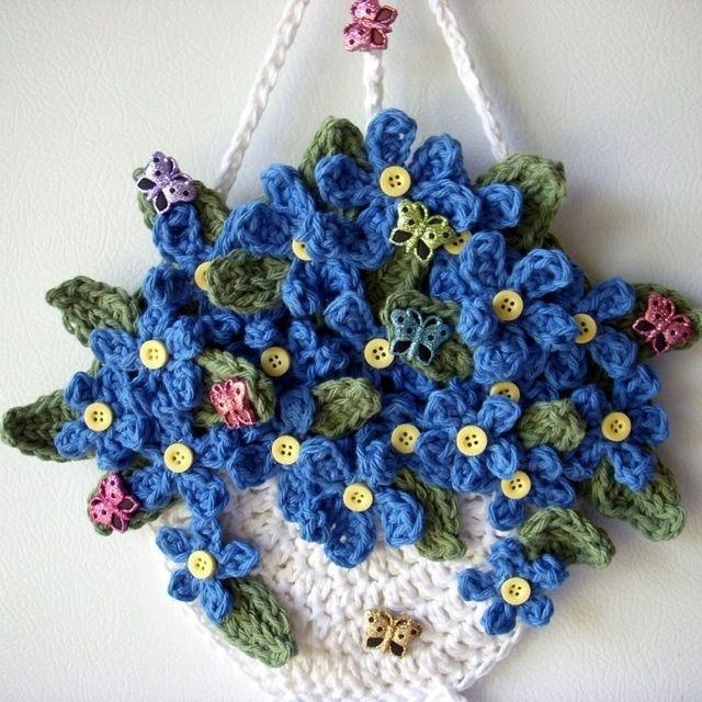 Crochet Wall Hanging Flowers | Crochet Crafts | Pinterest | Crochet Throughout Crochet Wall Art (Image 11 of 20)