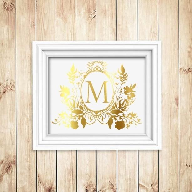 Custom Family Crest Gold Foil Print – Gold Foil Wall Art – Gold F Inside Gold Foil Wall Art (Image 3 of 25)