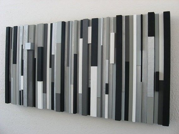 Custom Modern Wood Wall Art Sculpture Black White Greys Silver Pertaining To Grey And White Wall Art (View 2 of 25)