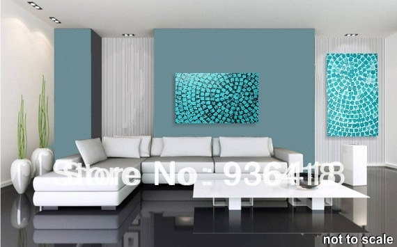 Custom Turquoise Wall Art Deco Abstract Modern Acrylic Painting With Turquoise Wall Art (Image 3 of 20)