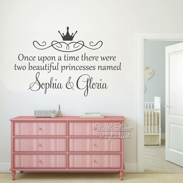 Custom Twins Name Wall Sticker Girls Name Wall Art Decal Children For Name Wall Art (View 5 of 25)