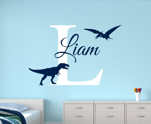 Customize Name Dinosaur Wall Decals For Boys Bedroom Kids Room Inside Dinosaur Wall Art (Image 4 of 20)