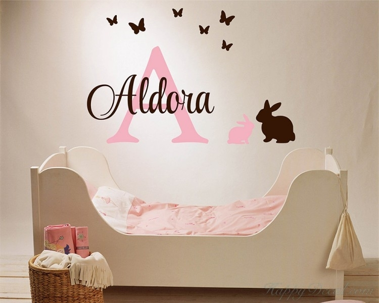 Customized Name Wall Stickers Bunny Butterfly Initial Letter Vinyl Throughout Name Wall Art (View 22 of 25)