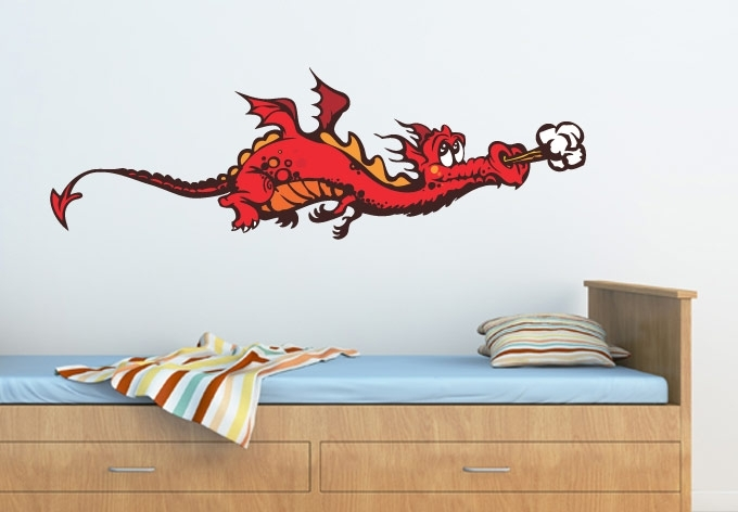 Cute Dragon Wall Sticker – Awesome Nursery Wall Decor Throughout Dragon Wall Art (View 12 of 25)
