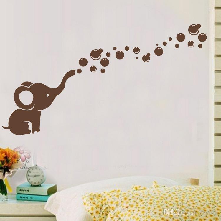 Cute Elephant Bubbles Diy Vinyl Wall Art Sticker Waterproof Nursery With Baby Room Wall Art (View 6 of 20)