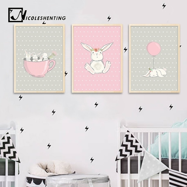 Cute Pink Rabbit Bunny Wall Art Canvas Posters Cartoon Animal In Bunny Wall Art (View 2 of 20)