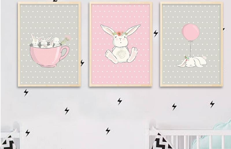 Cute Pink Rabbit Bunny Wall Art Canvas Posters Cartoon Decoration With Regard To Bunny Wall Art (Image 10 of 20)