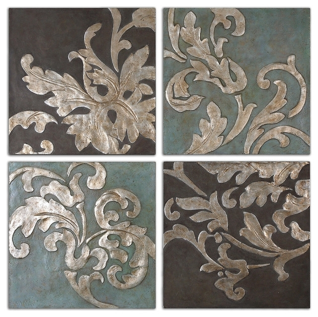 Damask Relief Blocks Wall Art, 4 Piece Set – Traditional – Paintings With Regard To Traditional Wall Art (Image 2 of 10)