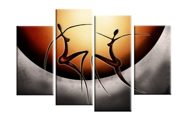Dancing African Ladies Abstract Canvas Split Panel Wall Art 40 101Cm With African Wall Art (Image 7 of 10)
