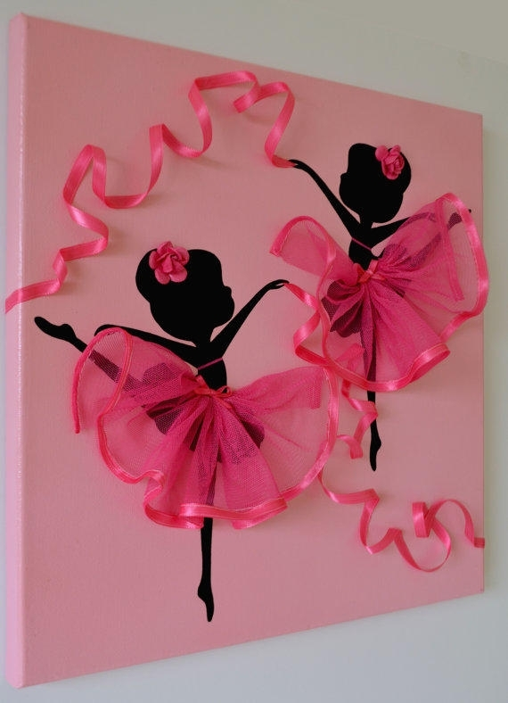 Dancing Ballerinas Pink Wall Art (View 1 of 25)