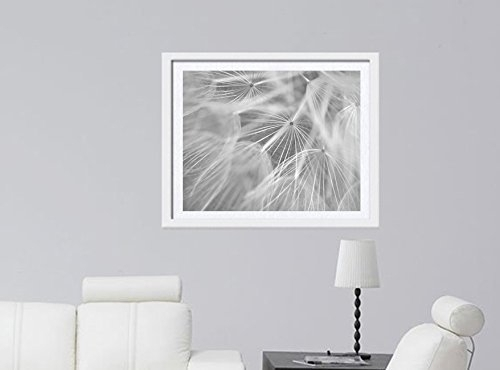 Dandelion Artwork, Pale Grey White Flower Abstract Wall Art, Modern Throughout Grey And White Wall Art (Image 6 of 25)