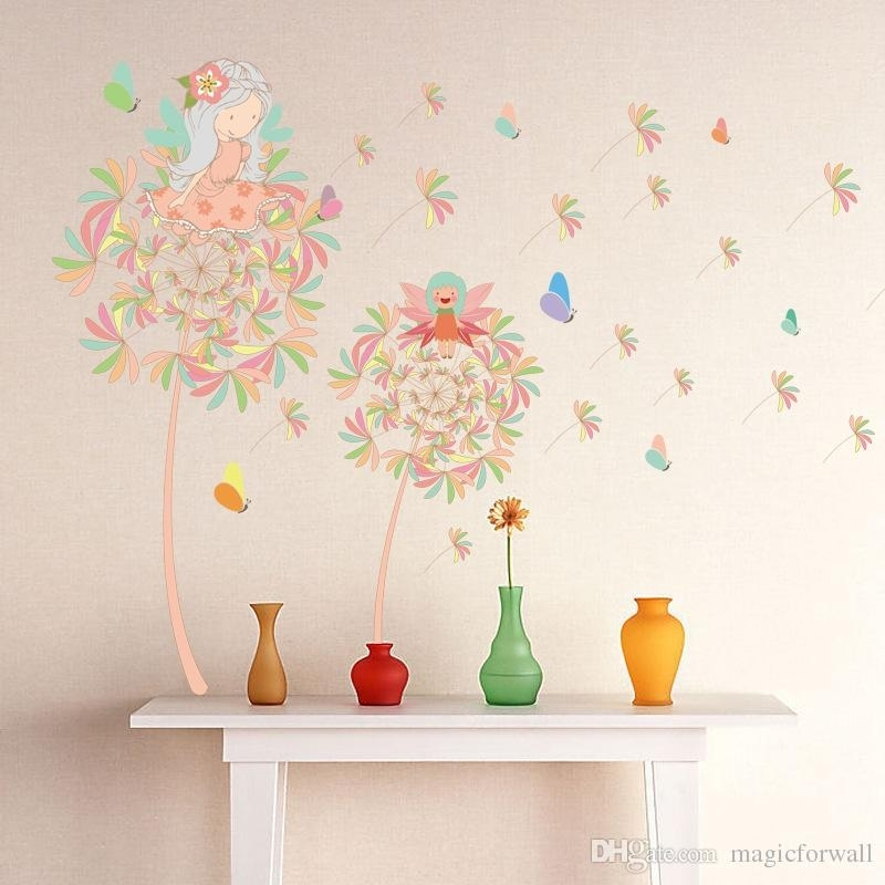 Dandelion Girl Wall Decal Stickers Two Fairy On The Dandelion Wall For Dandelion Wall Art (Image 6 of 25)