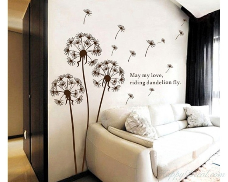 Dandelion Wall Decal With Quotes Vinyl Decals Modern Wall Art Stickers Inside Dandelion Wall Art (Image 12 of 25)