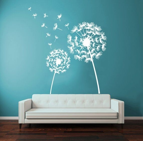 Dandelion Wall Decals Flower Blossom Flowering Art Mural Floral Within Dandelion Wall Art (Image 13 of 25)