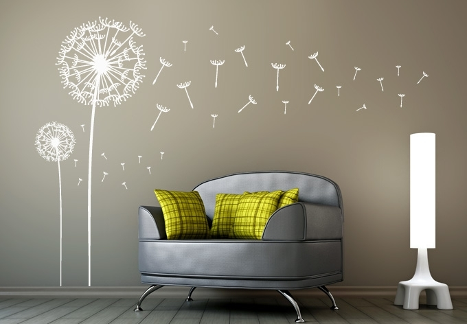 Dandelions Set Of 2 Wall Decal – Dandelion Vinyl Art For Dandelion Wall Art (View 3 of 25)