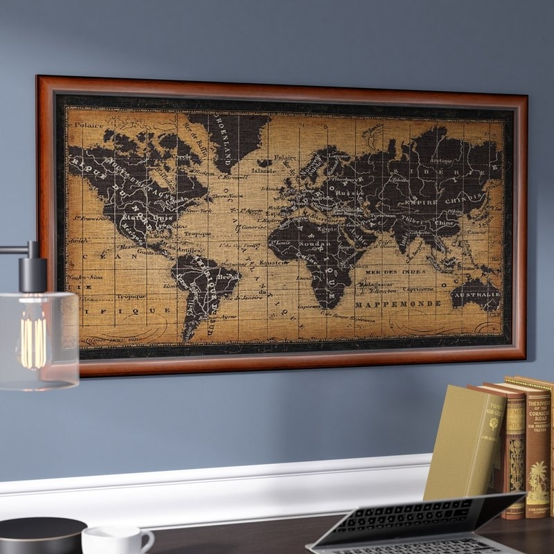 Darby Home Co Old World Map Framed Graphic Art | Wayfair Throughout World Map For Wall Art (Image 7 of 25)