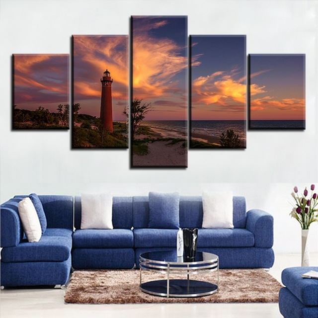 Darkness Sunset Beach Lighthouse Lake Michigan No Frame Oil Painting Inside Michigan Wall Art (Image 3 of 25)