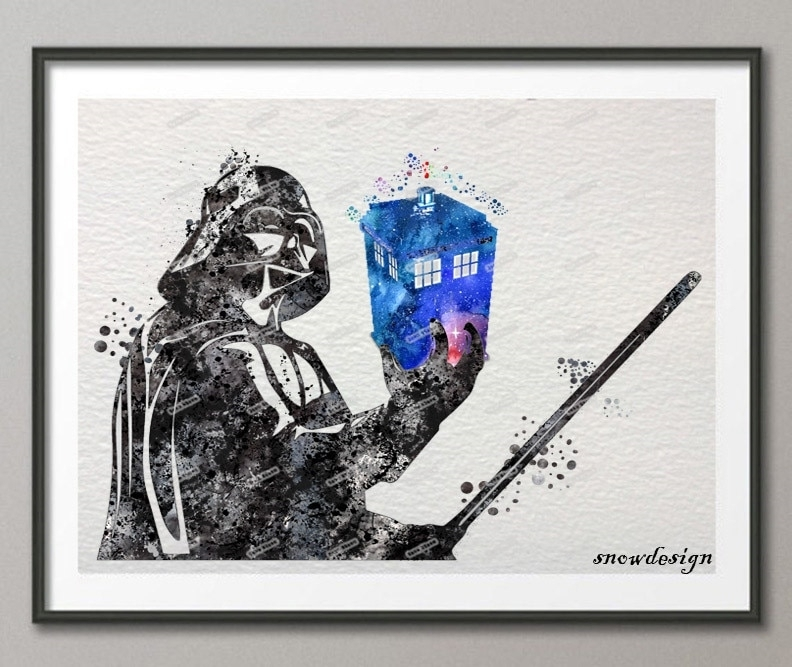 Darth Vader Doctor Who Tardis Original Watercolor Wall Art Canvas Pertaining To Doctor Who Wall Art (View 9 of 10)