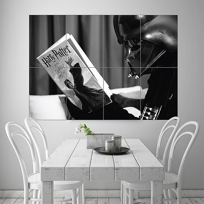 Darth Vader Reading Harry Potter Block Giant Wall Art Poster With Regard To Darth Vader Wall Art (Image 4 of 25)