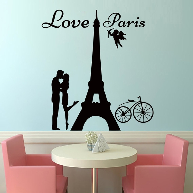 Dctop Angels Love Paris Wall Decals Lover Kissing And Bike Removable For Paris Wall Art (Image 2 of 10)