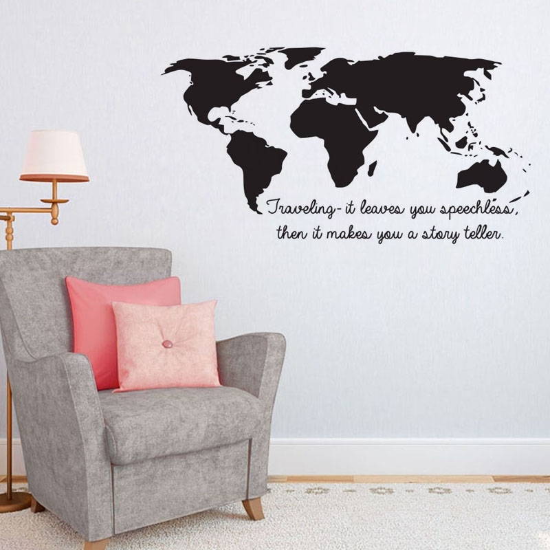 Dctop Traveling It Leaves You Speechless Quotes Wall Stickers World With Wall Art Stickers World Map (View 5 of 25)