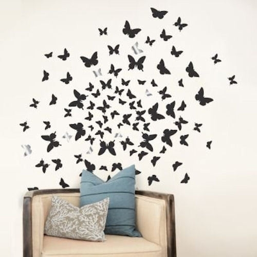 Dcwv Home Peel And Stick Wall Art Decals 3D Embellishments Flock Of Intended For Stick On Wall Art (Image 7 of 20)