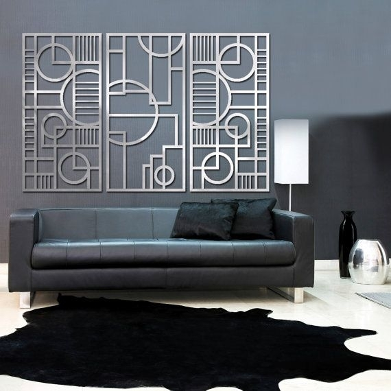 Deco Panel Trio 23 X 46 In Brushed Aluminum Freestudio724 For Art Deco Wall Art (View 6 of 25)