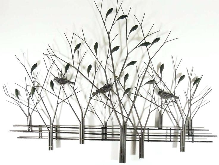 Decoration: Metal Wall Art Tree Scene With Birds Trees And Fence Regarding Metal Wall Art Trees (Image 5 of 25)